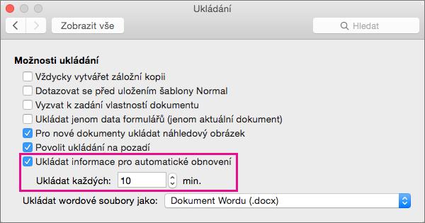 V dialogovém okně Uložit vyberte Uložit informace o automatickém obnovení a nastavte interval zadáním minut do pole Uložit každý.