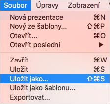 Ukazuje nabídku Soubor > Uložit jako v PowerPointu 2016 pro Mac.
