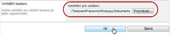 Kliknutí na tlačítko OK k umístění uložení souboru
