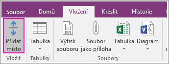 Snímek obrazovky s tlačítkem Vložit mezeru ve OneNotu 2016
