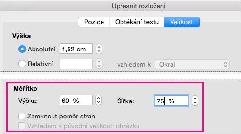 Na kartě velikost v poli Upřesnit rozvržení jsou zvýrazněné možnosti měřítka.