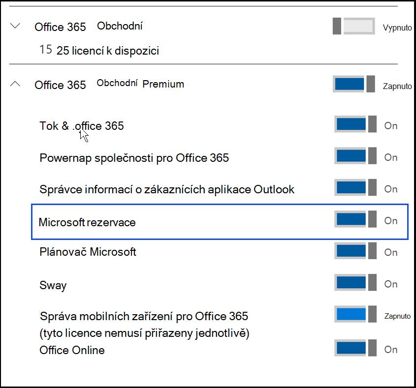 Snímek obrazovky zobrazující nastavení Microsoft Bookings v vypnout v licence kódu product uživatele.