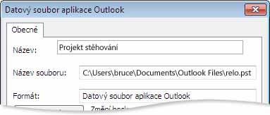 Dialogové okno Datový soubor aplikace Outlook