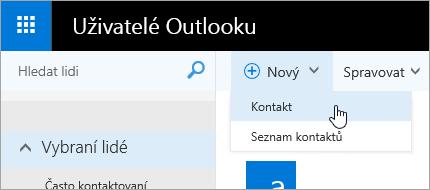 Snímek obrazovky s místní nabídkou pro tlačítko Nový a vybranou položkou Kontakt