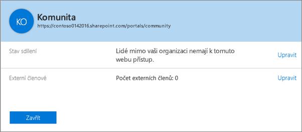 Dialog Stav sdílení pro konkrétní kolekci webů s vypnutým sdílením