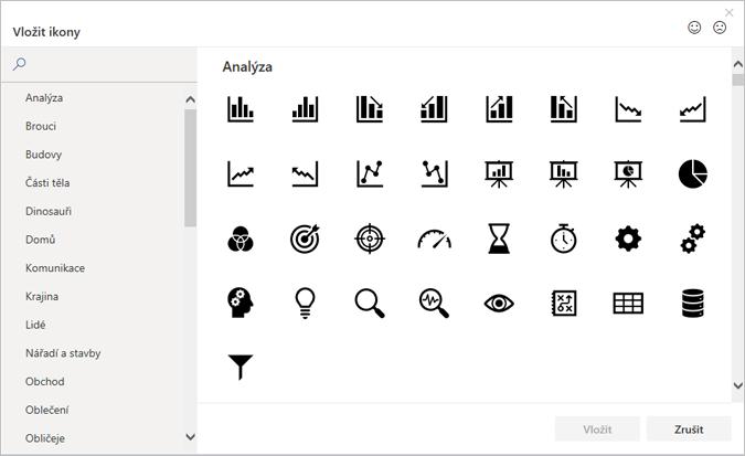 Můžete také vybrat a vložit ikonu z knihovny ikon v Office.
