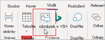 Klikněte na kartě Vložení na Obrázky a přidejte tak obrázek ze souboru na počítači.