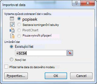 Dialogové okno Importovat data v Excelu