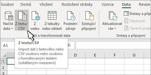 Vybrání možnosti Z textu/CSV na kartě Data