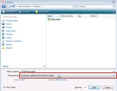 Uložení jako soubor v aplikaci PowerPoint 2010