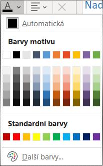 Snímek obrazovky s nabídkou Barva písma na kartě Domů