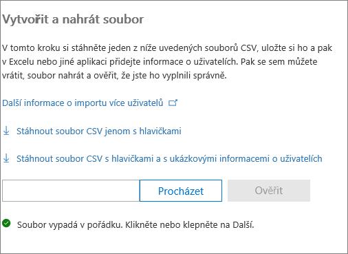 Váš soubor CSV je ověřený.