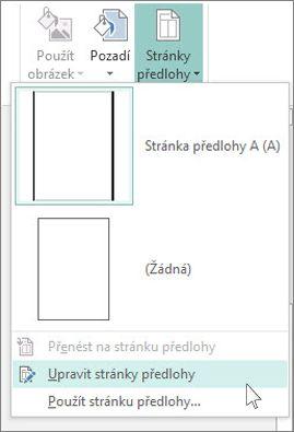 Snímek obrazovky s možností Upravit stránky předlohy v Publisheru
