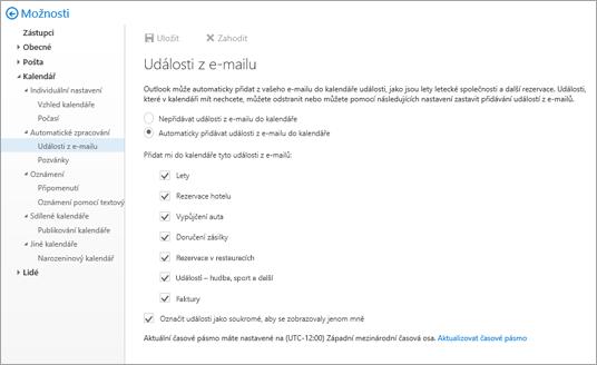 Snímek obrazovky na stránce nastavení pro události z e-mailu