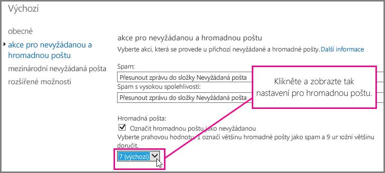 Nastavení filtru hromadné pošty v Exchangi Online