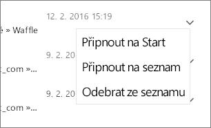 Snímek obrazovky s postupem, jak připnout soubor
