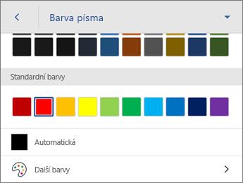 Příkaz Barva písma s automatickým nastavením barvy písma