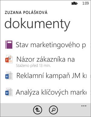Seznam dokumentů v aplikaci Office