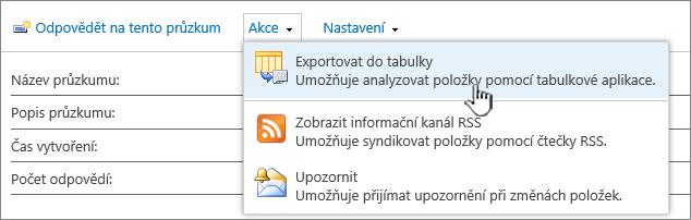 Průzkum tlačítkem exportovat do tabulky zvýrazněným
