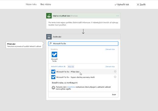 Snímek obrazovky s vybranou položkou Microsoft To-Do