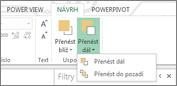Uspořádání pořadí vizualizací v Power View
