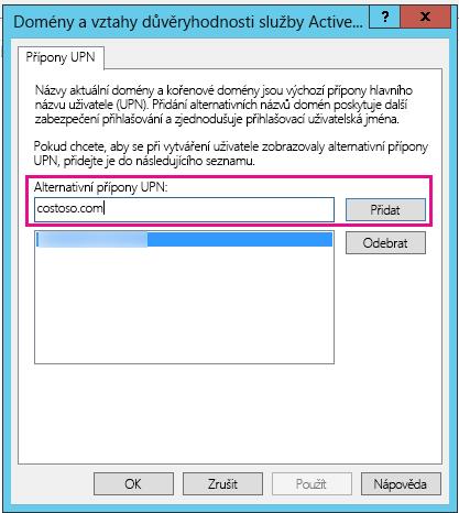 Přidání nové přípony UPN