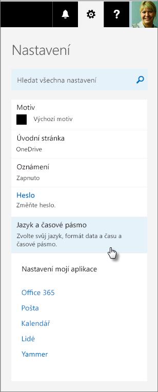 Podokno Nastavení v Office 365.