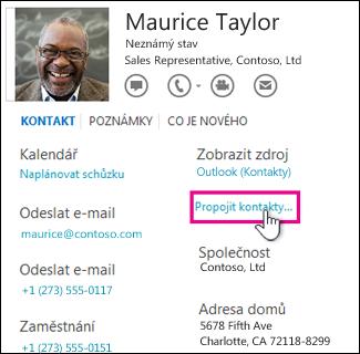 Tlačítko pro propojení kontaktů na kartě kontaktu