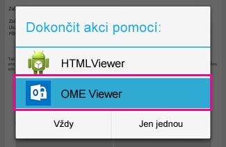 K zobrazení zašifrované zprávy klepněte na OME Viewer.
