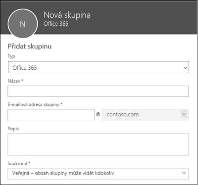 Vytvoření nové skupiny Office 365, nového distribučního seznamu nebo nové skupiny zabezpečení
