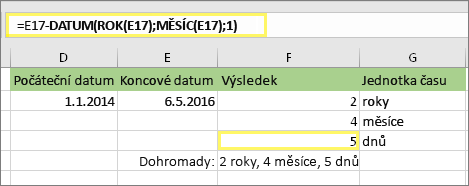 "=DATEDIF(D17;E17;""md"") a výsledek: 5"