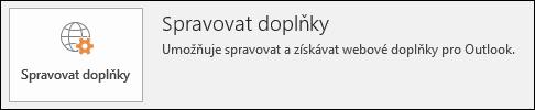 Tlačítko Spravovat doplňky v Outlooku