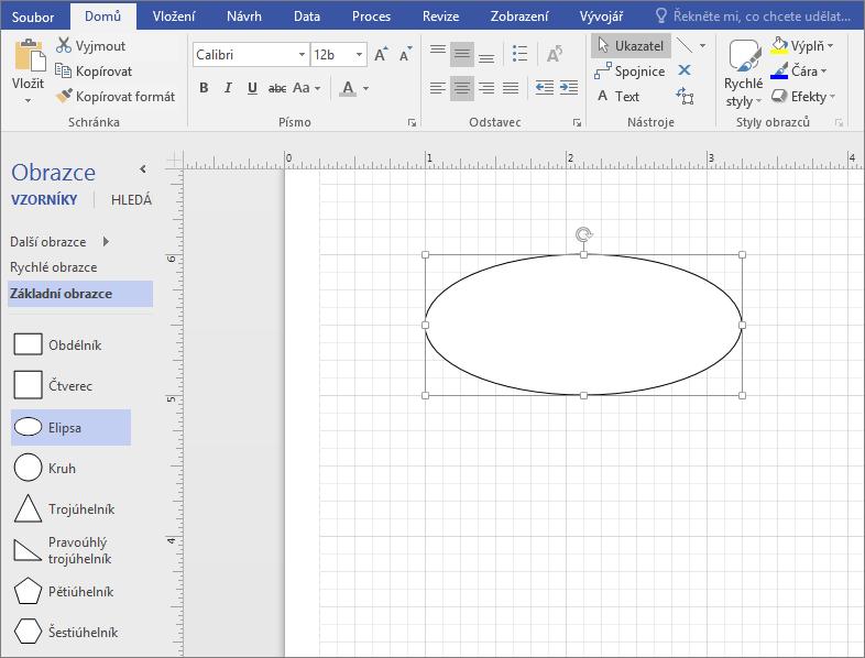 Přetáhněte obrazec ze vzorníku Obrazce základních na podokna výkresu.