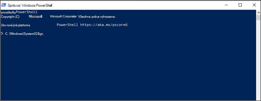 Snímek obrazovky: PowerShell commmand Prompt v C:\Windows\System32
