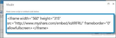 Snímek obrazovky s kódem pro vložení prvku <iframe> pro video, který byl zkopírovaný z webu pro sdílení videí. Kód pro vložení je fiktivní.