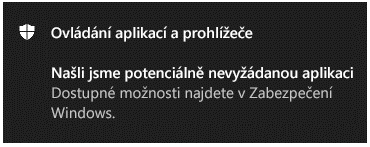 Oznámení řízení aplikací aprohlížečů, které zákazníkovi oznamuje, že byla nalezena potenciálně nežádoucí aplikace.