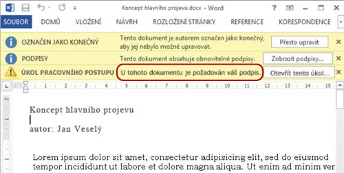Identifikační text v položce, která má být zkontrolována