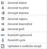 Možnosti zarovnání objektů v Publisheru 2010