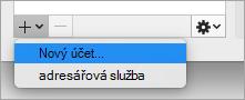 Zobrazuje možnost Nový účet na stránce Přidat účet nabídky v dialogovém okně účty