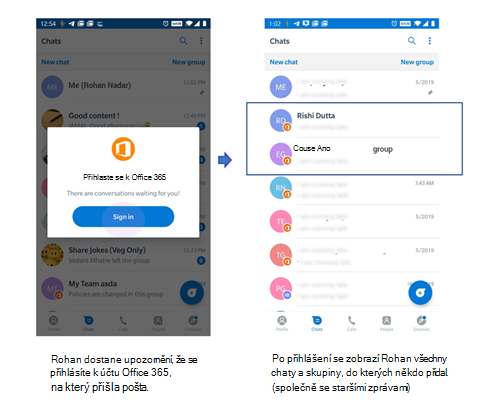Obrázky uživatelského rozhraní telefonu přijímajících chatů a skupin od uživatele, který dosud nebyl na Kaizala