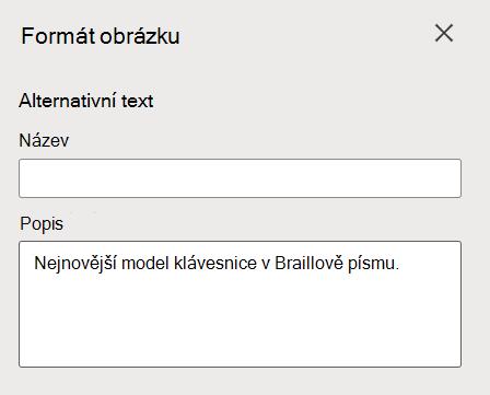 Podokno Formát alternativního textu obrázku ve Wordu pro web