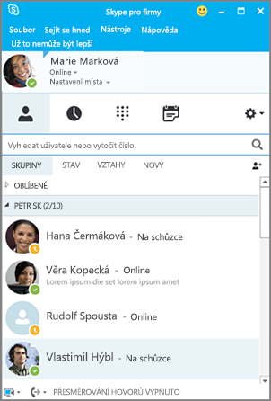 Seznam kontaktů Skypu pro firmy