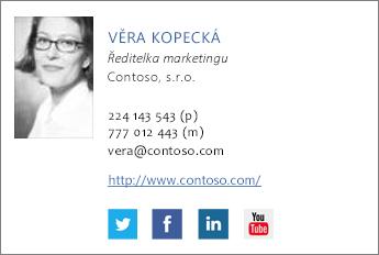 Příklad e-mailového podpisu s ikonami Facebooku a Twitteru