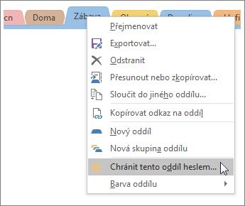 Snímek obrazovky, který ukazuje, jak ve OneNotu 2016 chránit oddíl heslem