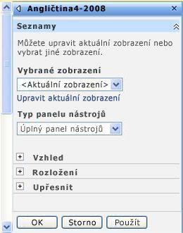 Podokno nástrojů webové části, kde lze konfigurovat  vlastnosti dané webové části.