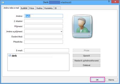 U každého kontaktu, který chcete importovat do souboru CSV zvolte OK.