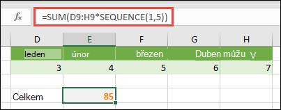 Použití maticových konstant ve vzorcích. V tomto příkladu jsme použili =SUM(D9:H(*SEQUENCE(1,5))