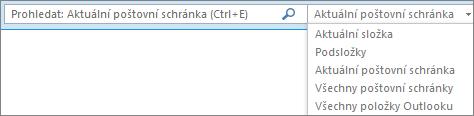 Použijte vyhledávací pole, zvolte seznam schránek nebo složku, abyste v Outlooku našli skupinu oborů.