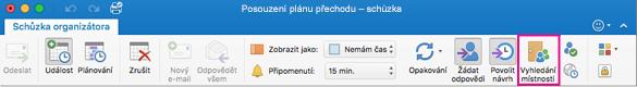 Pás karet Outlooku se zvýrazněným tlačítkem Vyhledání místnosti