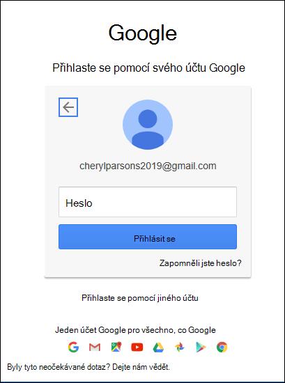 Zadejte heslo gmail.
